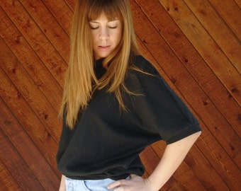 Black Dolman Jersey Knit Sweat Shirt Top - Vintage 80s - MEDIUM LARGE