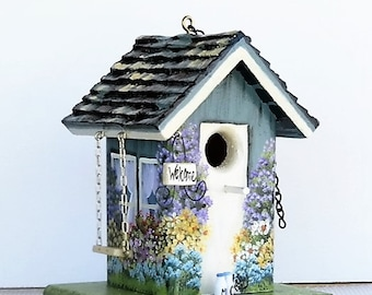 Teal and Cream Birdhouse , Handcrafted , Hand Painted , with Swing , and Welcome Signs with Clean Out