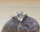 White Topaz Ring Sterling Silver Pear Cut April Birthstone Made To Order