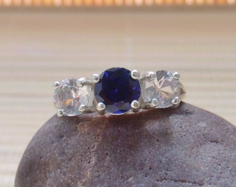 Sapphire White Topaz Three Stone Ring Sterling Silver Made To Order