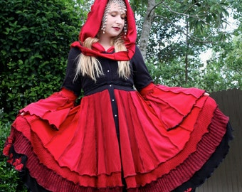 Ready to Ship- Upcycled Sweater Coat with a Medieval Liripipe Hood by SnugglePants- Red Riding Hood