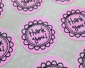 48 Pretty Pink Thank You Flower STICKERS