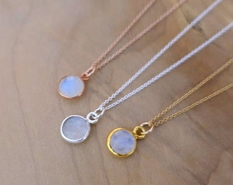 8mm Rainbow Moonstone Necklace, Moonstone Necklace, Sterling Silver Rose Gold Moonstone Necklace, Gold Filled Chain, Moonstone Bezel Charm
