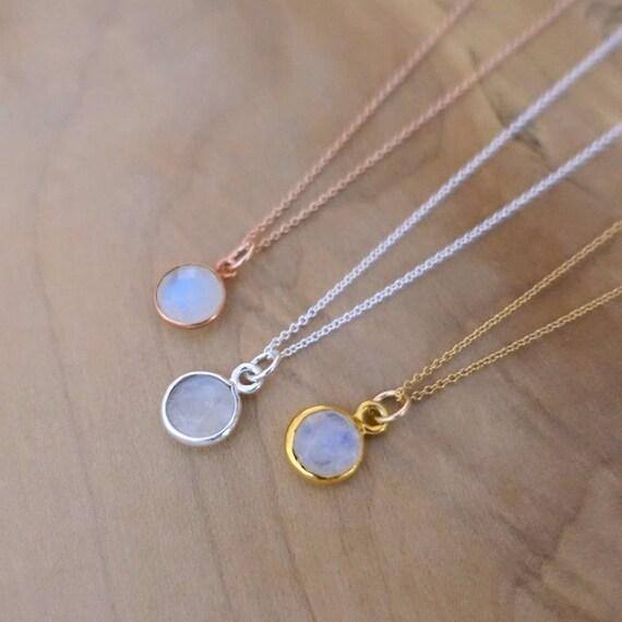 Moonstone Necklaces: 8mm Rainbow Moonstone Necklace Moonstone Necklace Sterling