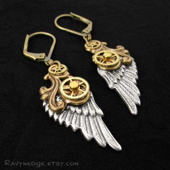 Mechanical Flight - Steampunk Earrings, Angel Wing Earring, Gear Jewelry, Steampunk Jewelry, Mixed Metal Jewelry, Dangle Earings, Clockwork