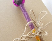 Doll Pencil Wooden Handmade Brown and Purple, Handpainted Pencil, Decorated Pencil, African Doll