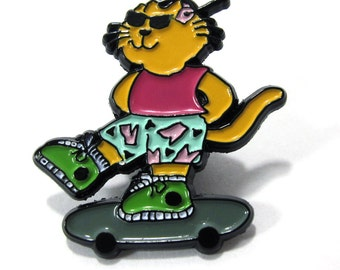 KOKO CAT Skateboarding Enamel Lapel Pin by KOKOROKOKO