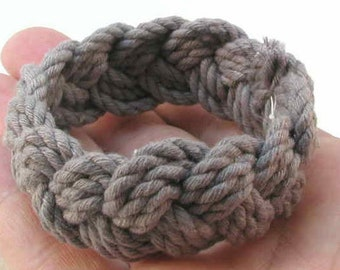 dark grey cotton turks head knot rope bracelet hand dyed cord limited edition  color  2082