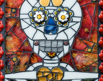 Day of the Dead Sugar Skull Paco mosaic 8x10 - Matted Giclée Fine Art Print by Cherie Bosela