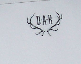 Personalized Antlers Notepad Vintage Inspired Stag Deer Elk Monogrammed 75 Sheet Note Pad Woodland Forest Mountain Cabin Lodge Chic