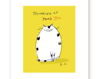 Thinking of You/Food Cat Print - Funny Cat Print - Cat Art - Gift for Cat Mom or Cat Dad