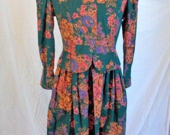 Petite Lanz Vintage Dress Peplum Tab Collar Brushed Cotton Floral Dress Green Dress Vintage 80s Career Dress Size 8 Petite