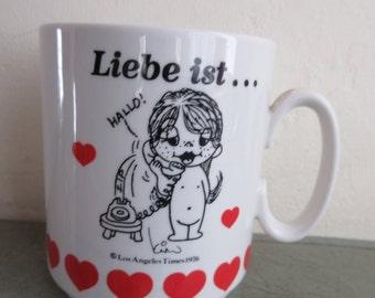 Vintage Mug, Liebe Ist Mug, Love Is Mug, German Love, Love Mug, Valentine Mug, Coffee Cup, Ceramic Mug, Cute Kawaii Zakka, Vintage Cup