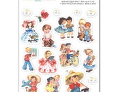 Summer Kids Retro Planner Scrapbook Cardmaking Stickers | ST-57NW05