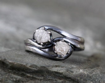Two Stone Raw Diamond Ring - 1 Carat Raw Diamond Engagement Rings - 2 Uncut Rough Gemstone - April Birthstone - Always and Forever Ring