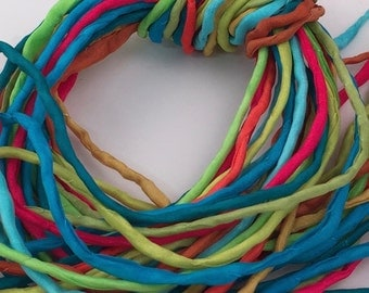 Hand Painted Silk Cord - Hand Dyed Silk - Silk Ribbon - Jewelry Supplies - Wrap Bracelet - Craft Supplies - 2mm Silk Cord Item No.403