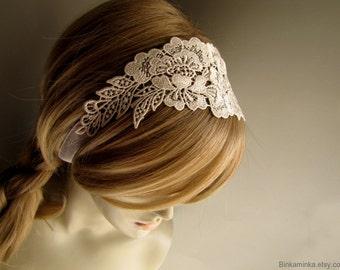 Lace Headband Lace Choker Wedding Lace Headband Wedding Lace Choker Ivory Bridal Headband Ivory Choker Bridal Accessory Bridal Hair Wrap