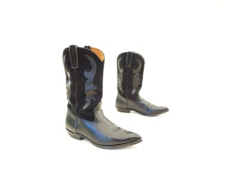 Black Cowboy Boots Vintage Lizard Boots Black Suede Cowboy Lizard Boots Made in Spain Walking Low Heel 70s Cowgirl Boot Black Cowgirl 9 1/2
