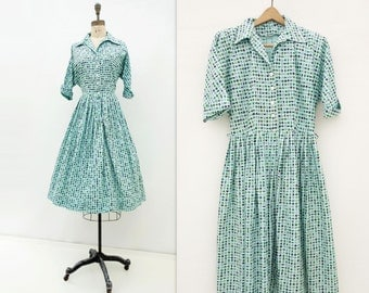 Vintage 50s Dress 1950s Blue Day Dress Shirtwaist Dress 50s Cotton Dress Full Skirt Dress Robins Egg 50s Aqua Dress Fit and Flare Dress m