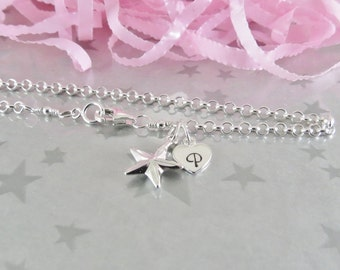 Sterling Silver Star Bracelet - Personalized Heart Initial Charm - Hand Stamped Sterling Silver Charm Jewelry -  Gracie Jewellery