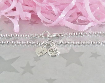 Sterling Silver Om Charm Bracelet - Personalized Heart Initial Charm - Hand Stamped Sterling Silver Charm Jewelry - Gracie Jewellery