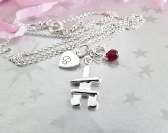 Inukshuk Charm with Hand Stamped Heart Initial Necklace. Sterling Silver Charm Jewelry. Personalized Jewelry. Swarovski Crystal Birthstone.