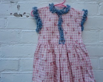 1950s Vintage Girls Dress  Pink Rosette Blue Lace  3T