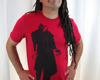 Clearance-- Men's Red Nosferatu Tshirt