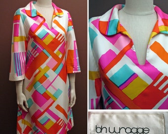 1970 Vintage Abstract Printed Silk Twill Dress by B.H. Wragge Sz S/M