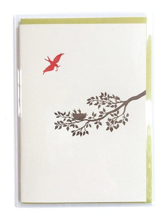 Mama Bird Card, letterpress card, Birds Nest Card, Mommy Bird Baby Bird Card, Blank Greeting Cards, Handmade Card, Nature Card, New Mom Card