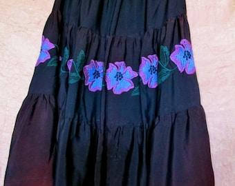 60s Betsey Johnson skirt, Gypsy skirt, Festival skirt, Alley Cat skirt, Betsey Johnson,  embroidered skirt, Prairie skirt,