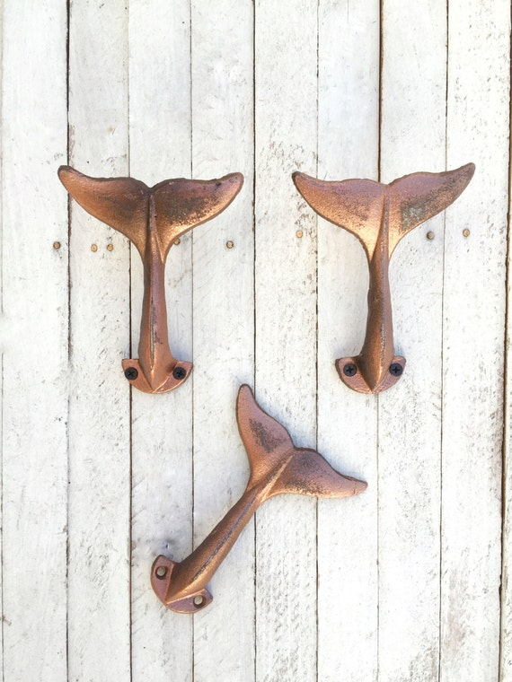 Cast Iron Whales Tail Wall Hook, Whale Tail Robe Hook,  Anthropologie Style, Towel Hook, Nautical Wall Decor