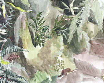 Fernery Watercolor - Matted