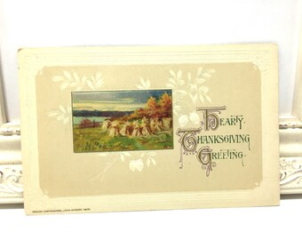Vintage Thanksgiving Postcard, Vintage Postcard, Wheat Field, Thanksgiving Decoration, Holiday Gift, Winsch Postcard