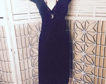 Blue Velvet Star Dress - sparkle dress - silver and blue glitter stars - stretch velvet - 80s vintage dress - the universe dress