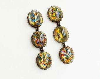 Rainbow Glass Opal Dangle Earrings Long Iridescent Post Earrings Vintage Multi-Coloured Opal Hypoallergenic Glamorous Statement Jewelry