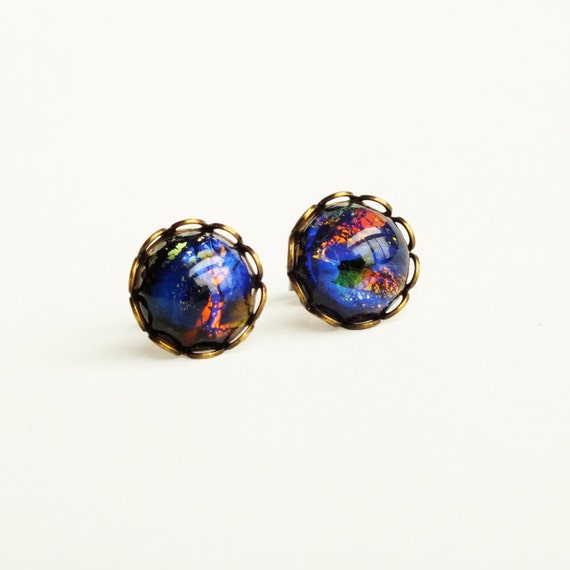 black opal stud earrings opal studs vintage glass fire opal