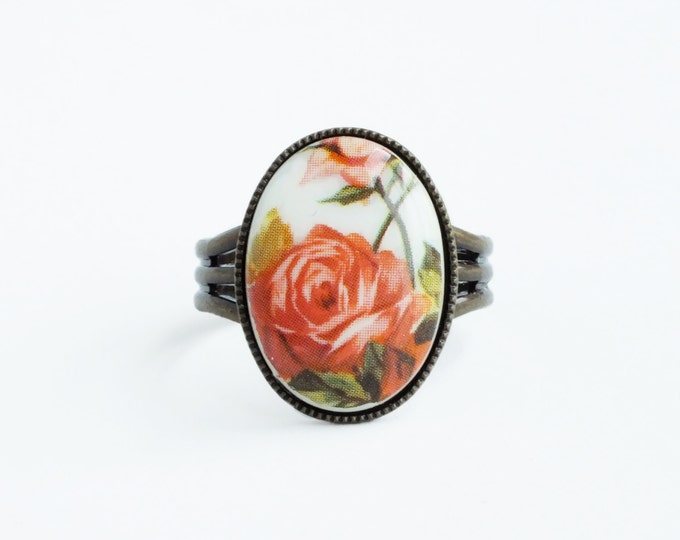 Rose Cameo Ring Vintage Glass Coral Pink Floral Cameo Adjustable Flower Ring Victorian Rose Jewelry Pink Floral Jewellery