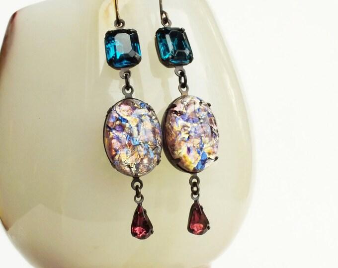 Amethyst Opal Earrings Vintage Harlequin Fire Opal Dangles Amethyst Jewelry Iridescent Purple Teal Earrings Victorian Opal Jewelry