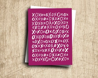 valentine card funny valentines card best friend valentines day card hugs and kisses xo X O anniversary card any occasion greeting card
