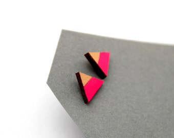 Triangle geomeric stud earrings - neon pink, gold - minimalist, modern hand painted wooden jewelry