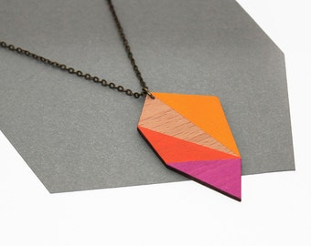 Geometric polygon wooden necklace - magenta, orange, golden yellow, natural wood - minimalist, modern jewelry - color blocking