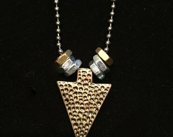Textured Arrow Pendant with Hex Nuts - 36-Inches