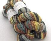 100g hand dyed wool yarn. British Wensleydale  DK. The Scarecrow. brown, yellow, grey, green. Hand painted wool, UK seller, indie dyer.