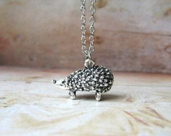 Spike - Antiqued Silver Tone Hedgehog Handmade Necklace - Gift Box