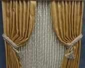 Miniature Gold/cream lined silk double window draperies with valance and lace shears for the dollhouse