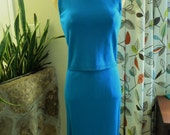 1960s Aqua Blue Knit 2 pc. sleeveless shell + straight skirt