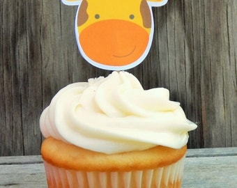Jungle Friends Party - Set of 12 Giraffe Cupcake Toppers by The Birthday House