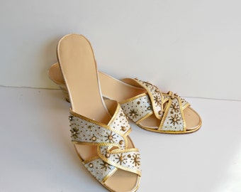 Silver and Gold Metallic Wedges with Pearls and Gold Beads, 1960's, Never Worn, Indian, Ethnic