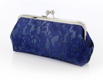 Navy Peony Lace Bridal Clutch 8-inches | Bridesmaid Clutch
